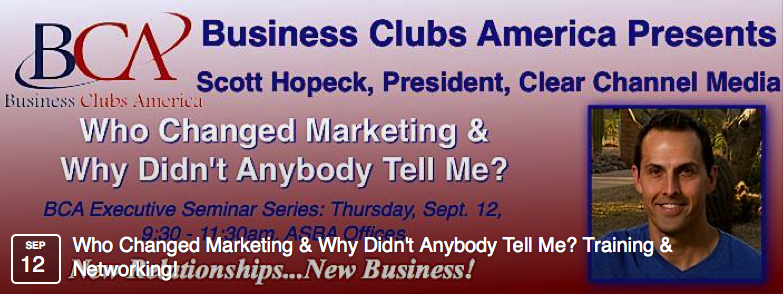 Scott Hopeck, President of iHeartMedia, New York presents at Business Clubs America Professional Development Event banner