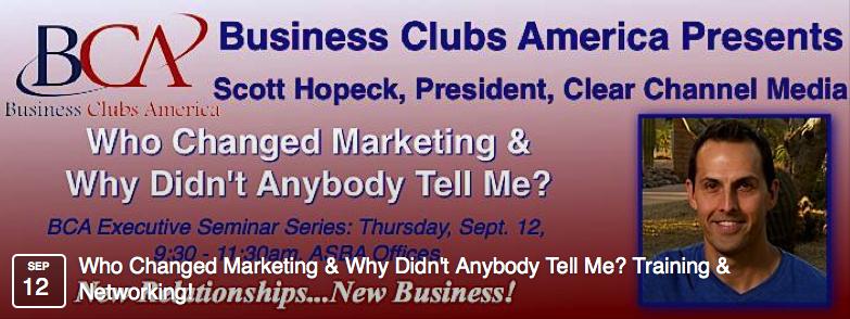 Scott Hopeck, President of iHeartMedia, New York presents at Business Clubs America Professional Development Event banner