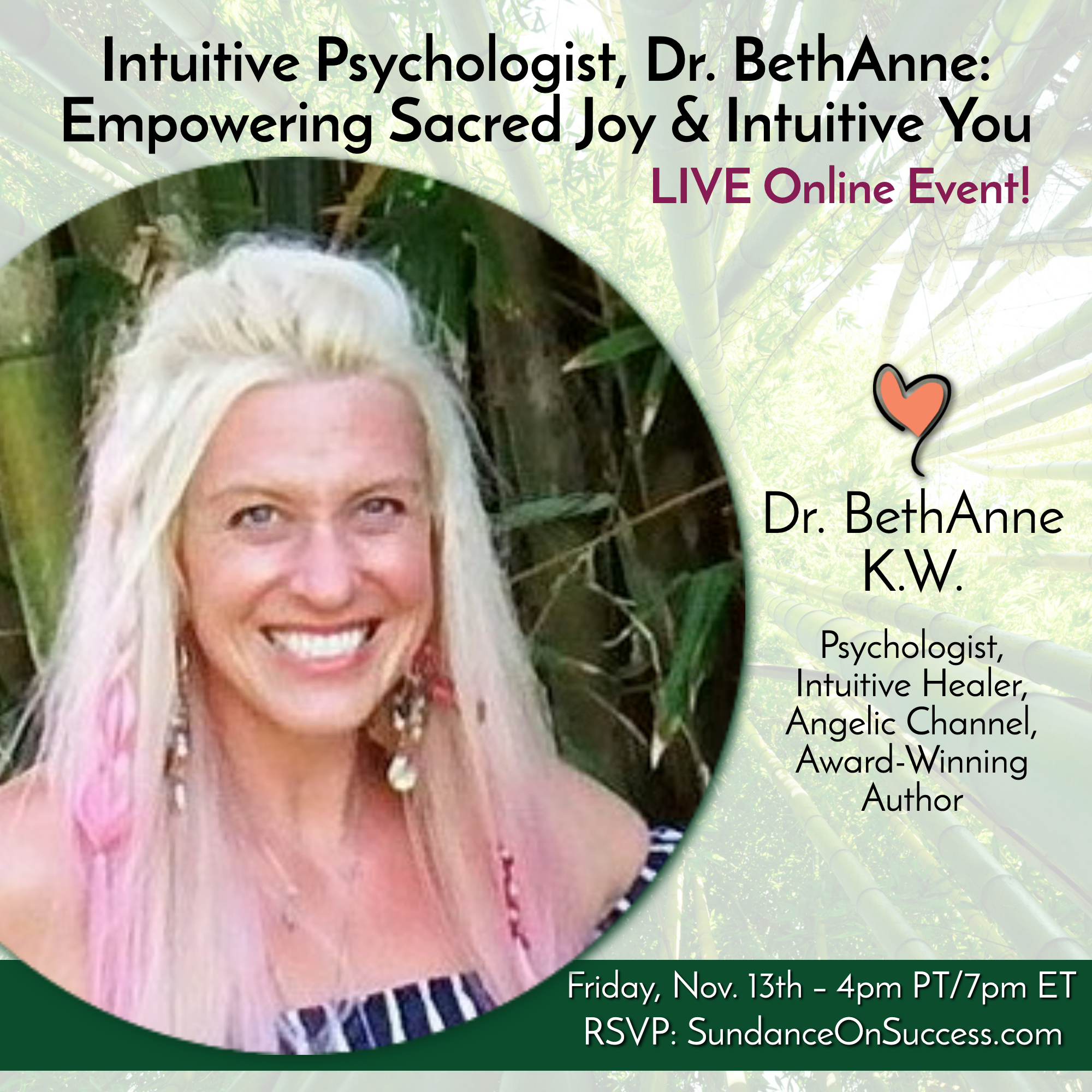 Intuitive Psychologist, Dr. BethAnne: Empowering Sacred Joy & Intuitive You banner